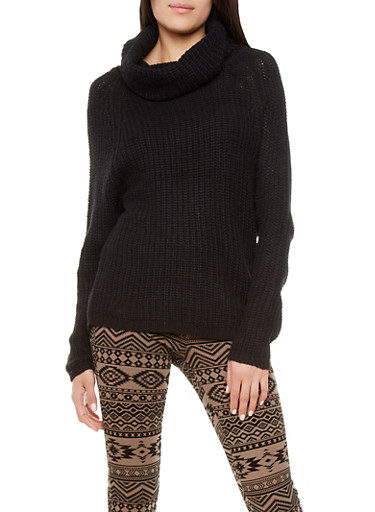 Cowl Neck Sweater with Long Sleeves,BLACK,large