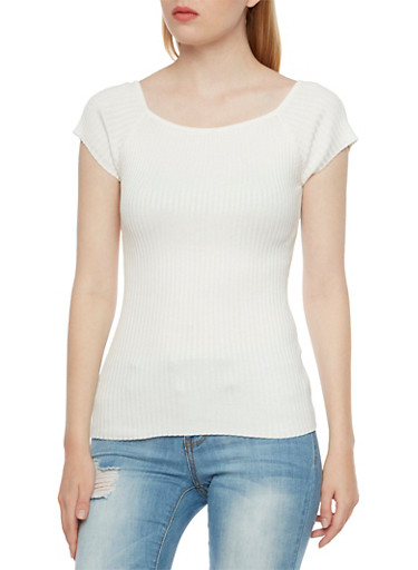Ribbed Top with Short Sleeves,IVORY,large