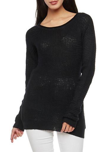 Waffle Knit Tunic Sweater,BLACK,large