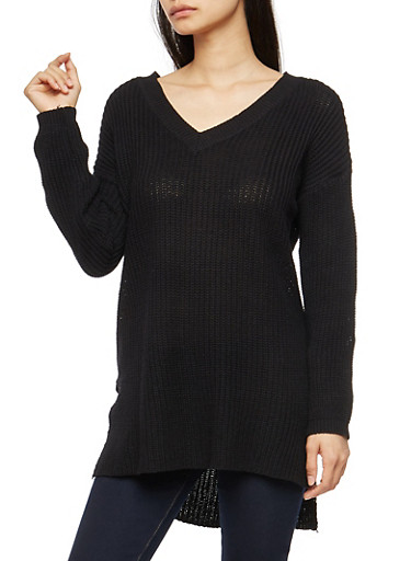 Long Sleeve Tunic Sweater with Side Slits,BLACK,large