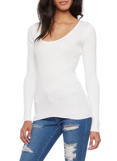 Ribbed Top with Scoop Neck,IVORY,large