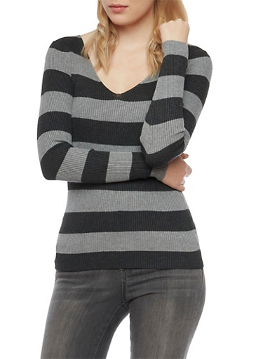 Striped V-Neck Sweater,CHARCOAL,large
