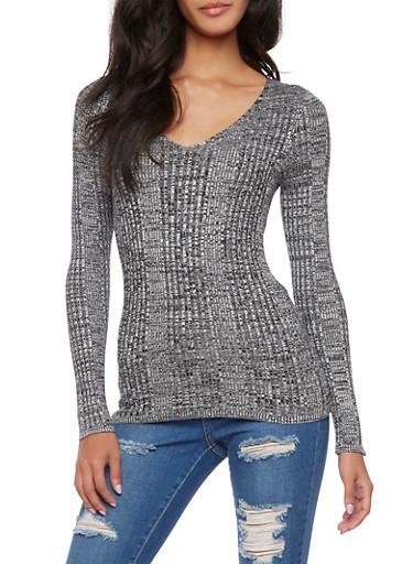 Ribbed V-Neck Sweater,BLACK/IVORY,large