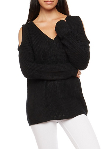 Cold Shoulder Heavy Knit Sweater,BLACK,large