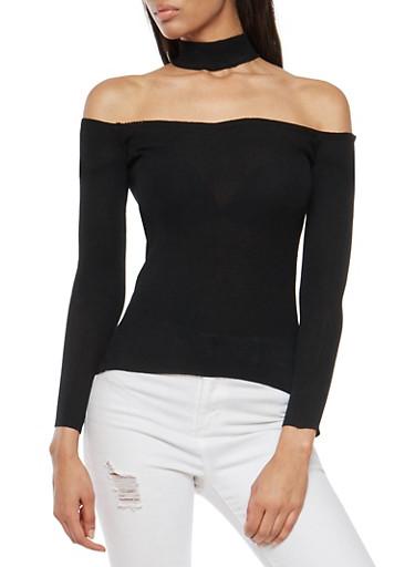 Off the Shoulder Choker Neck Top,BLACK,large