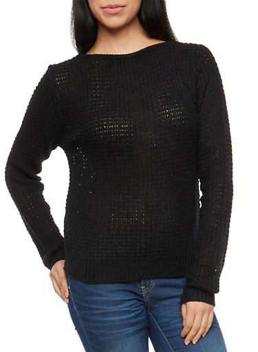 Waffle Knit Caged Crew Neck Sweater,BLACK,large