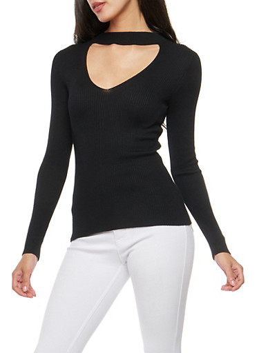 Choker Neck Keyhole Sweater,BLACK,large