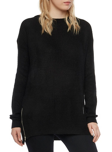 Sweater with Zipper Accent,BLACK,large