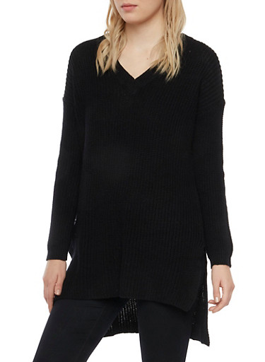 V Neck Sweater with High Low Hem,BLACK,large