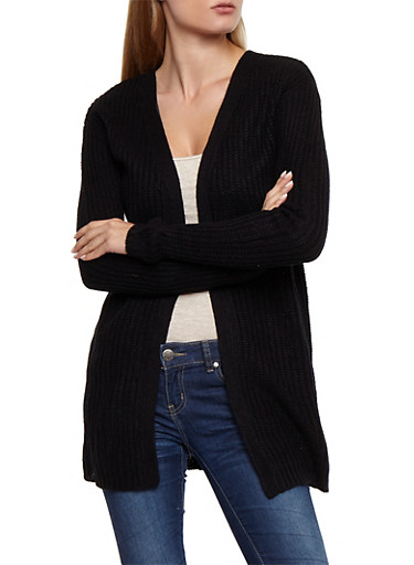 Lace Up Back Knit Cardigan,BLACK,large