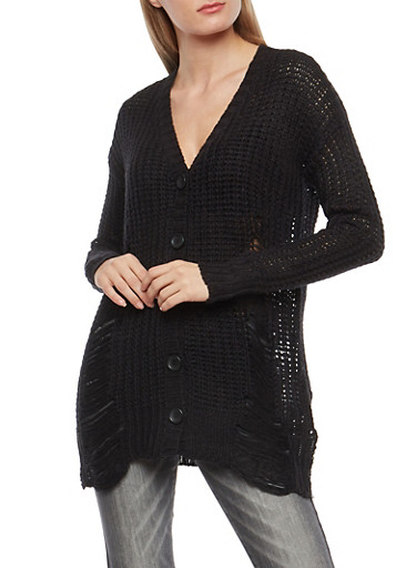 Distressed Button Front Cardigan,BLACK,large