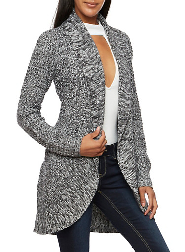 Marled Cardigan with Shawl Lapel,BLACK,large