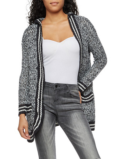 Long Sleeve Hooded Open Front Cardigan,BLACK,large