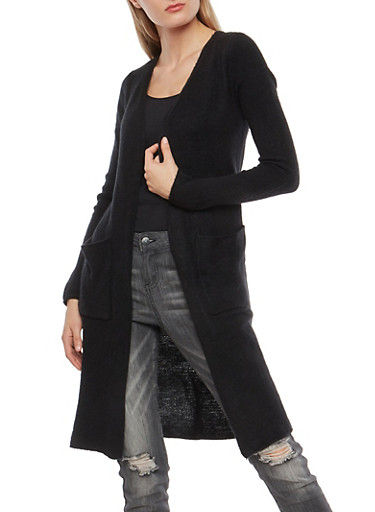 Two Pocket Open Front Duster,BLACK,large