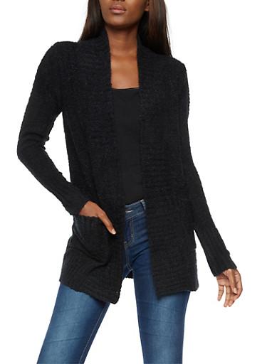 Textured 2 Pocket Cardigan,BLACK,large