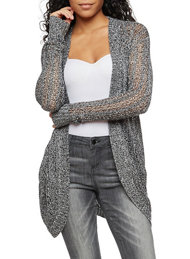 Long Sleeve Open Front Cardigan,BLACK,large
