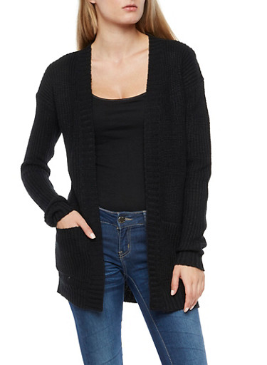 Solar Knit Cardigan,BLACK,large