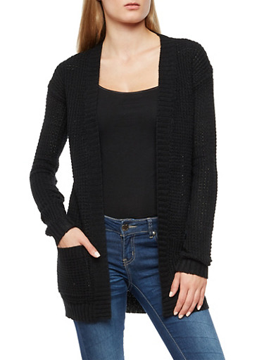 Black Waffle Knit Open Front Cardigan,BLACK,large