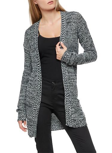 Multi Color Knit Cardigan,BLACK/IVORY,large