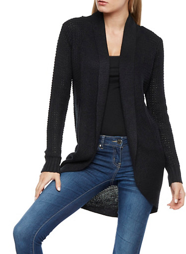 Heavy Knit Cardigan,BLACK,large