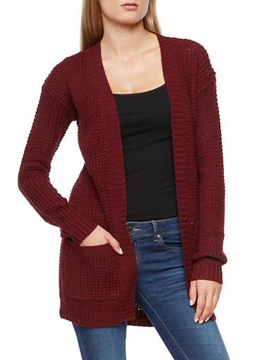 Heavy Knit Cardigan,WINE,large