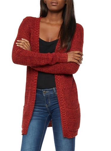 Two Tone Chunky Knit Cardigan,BURG/RUST,large