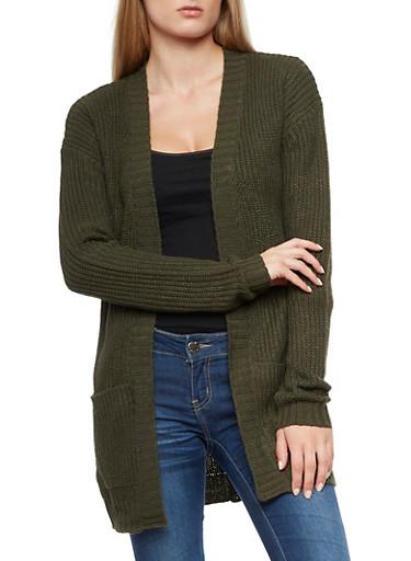 Solid Knit Cardigan,OLIVE,large