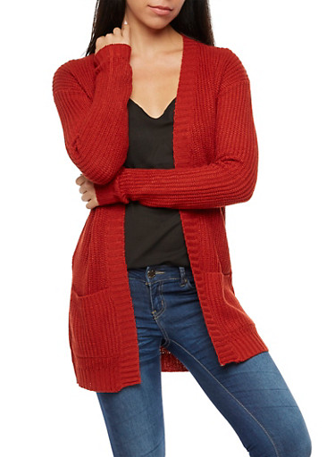 2 Pocket Open Front Cardigan,RUST,large