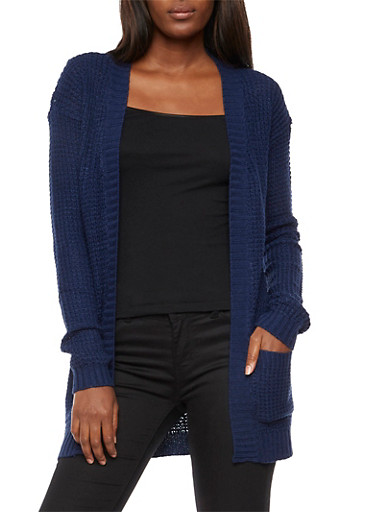 Waffle Knit Open Front Cardigan,NAVY,large
