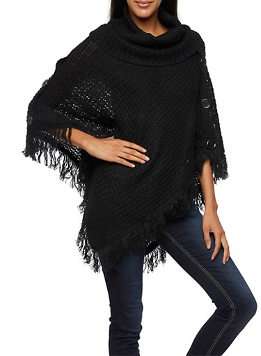 Cowl Neck Poncho with Buttons and Fringe,BLACK,large