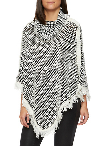 Knit Poncho with Fringe Hem and Button Accents,BLACK,large