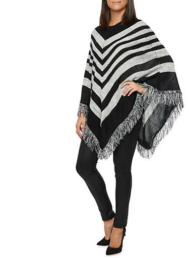 Striped Poncho with Fringe Hem,BLACK,large