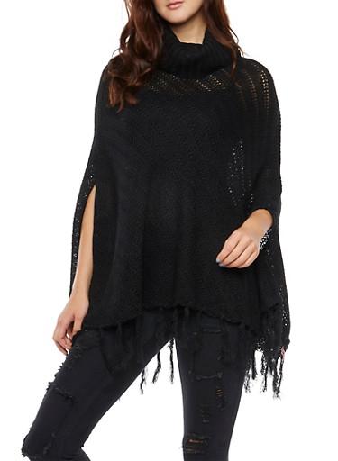 Knit Poncho with Turtleneck and Fringe Hem,BLACK,large