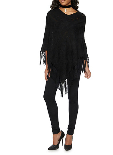 Cable Knit Poncho with Knotted Fringe Hem,BLACK,large