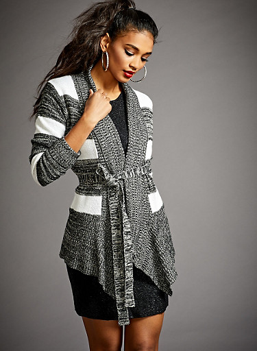 Striped Cardigan with Open Front and Waist Belt,BLACK,large