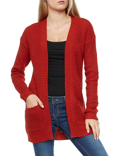 Heavy Knit Open Front Sweater,RUST,large