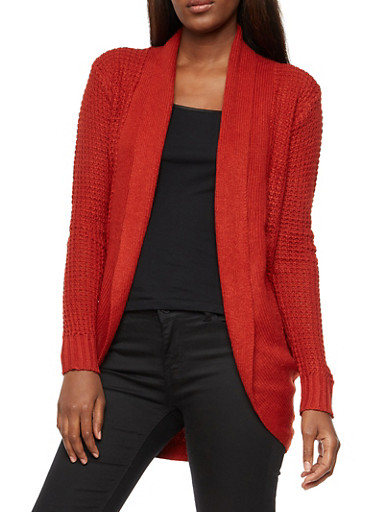 Waffle Knit Open Front Cardigan,RUST,large