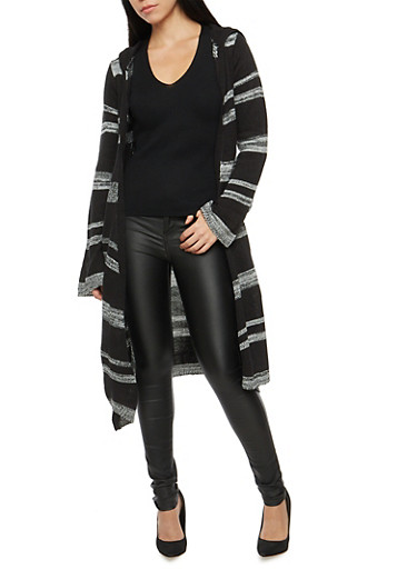 Striped Hooded Duster,BLACK,large
