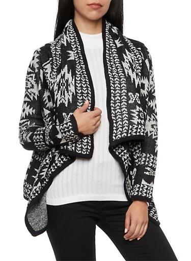 Draped Cardigan in Aztec Pattern,BLACK/WHITE,large