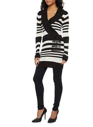 Striped Tunic Sweater with Wrap Front,BLACK/WHITE,large