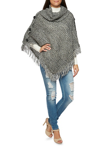 Cowl Neck Poncho with Fringe and Button Trim,BLACK,large