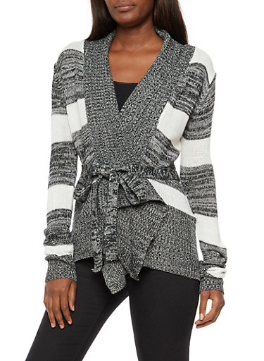 Striped Open Front Belted Cardigan,BLACK,large