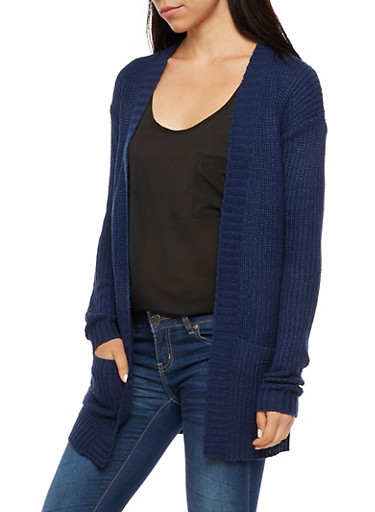 Long Sleeve Open Front Sweater,NAVY,large