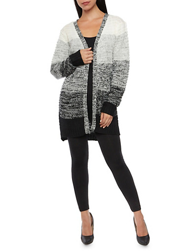 Striped Cardigan in Chunky Knit,BLACK,large