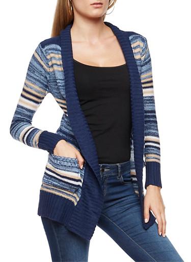 Multi Striped Cardigan,NAVY,large
