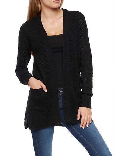 Heavy Knit Cardigan,BLACK,large