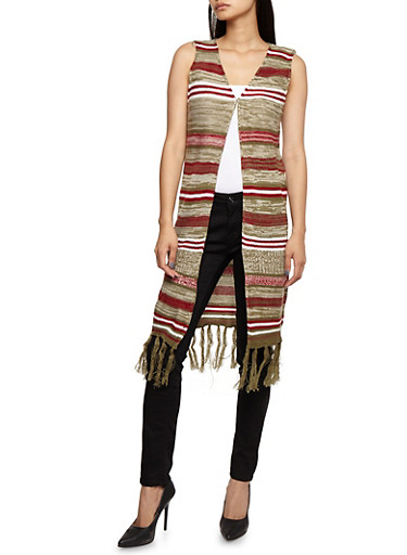 Striped Sleeveless Fringe Duster,OLIVE,large