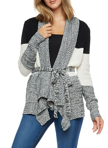Long Sleeve Open Front Color Block Cardigan with Tie Waist,BLK/IVORY,large