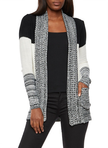 Marled Color Block Open Front Cardigan,BLK/IVORY,large