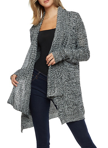 Long Sleeve Open Front Sweater with Pockets,BLK/IVORY,large